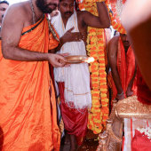 Shri Swamiji offering mangalarati to Lord Narasimha kept in decorated Golden panaquin